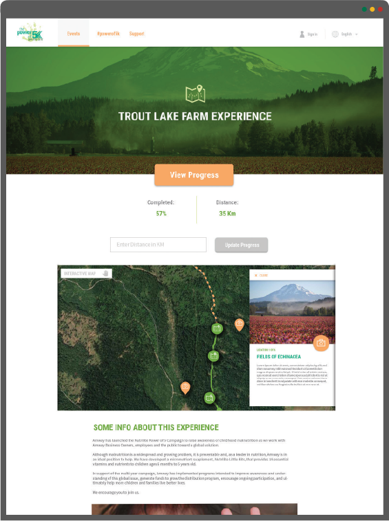Power of 5 Adventure page mockup