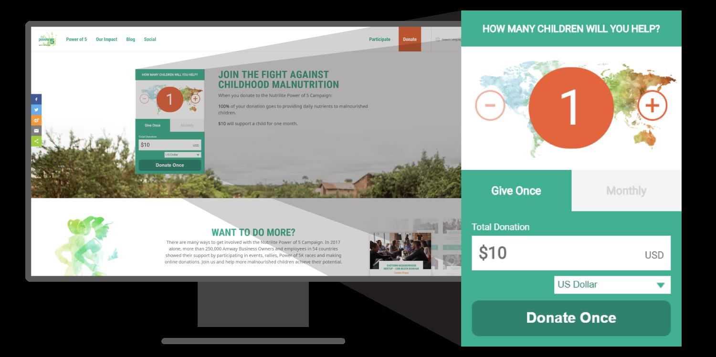 Power of 5 donation widget