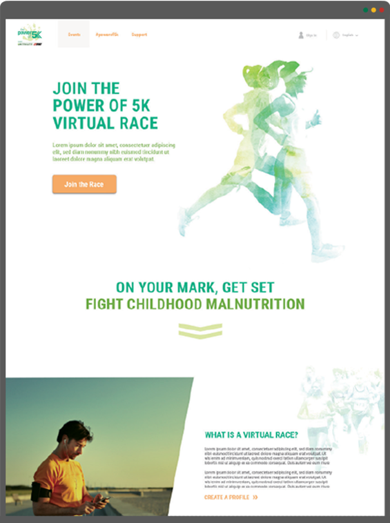 Power of 5 virtual race homepage mockup