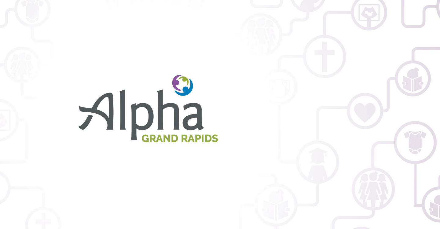 alpha logo on pattern
