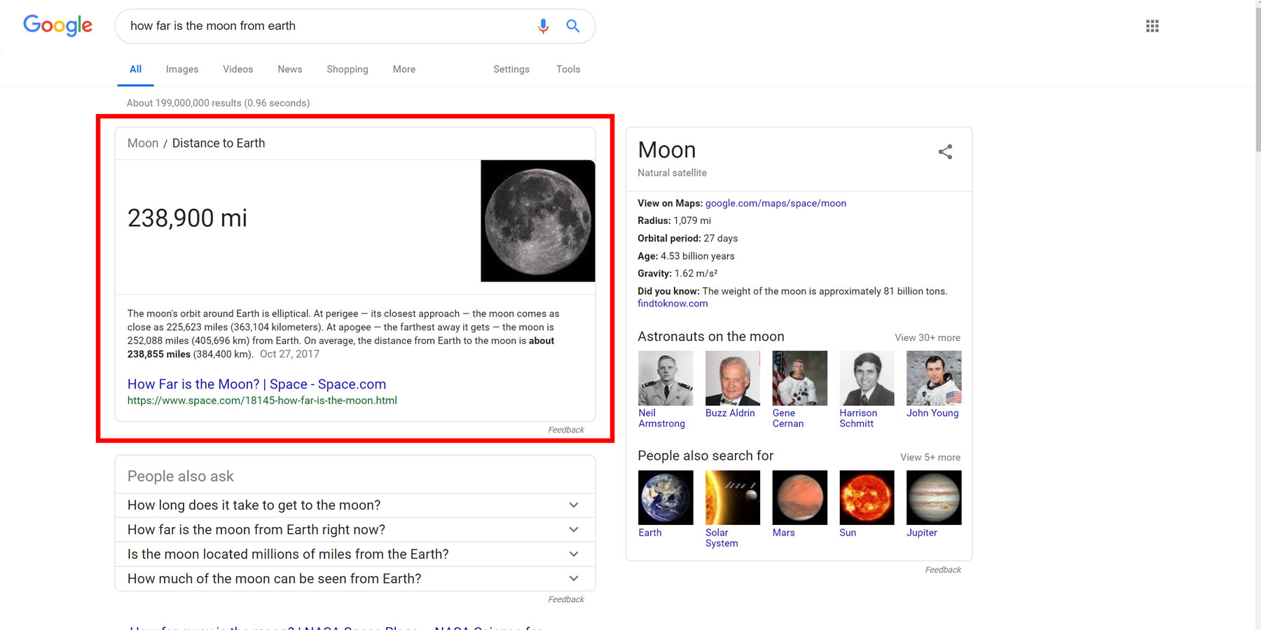 Google card - how far is the moon