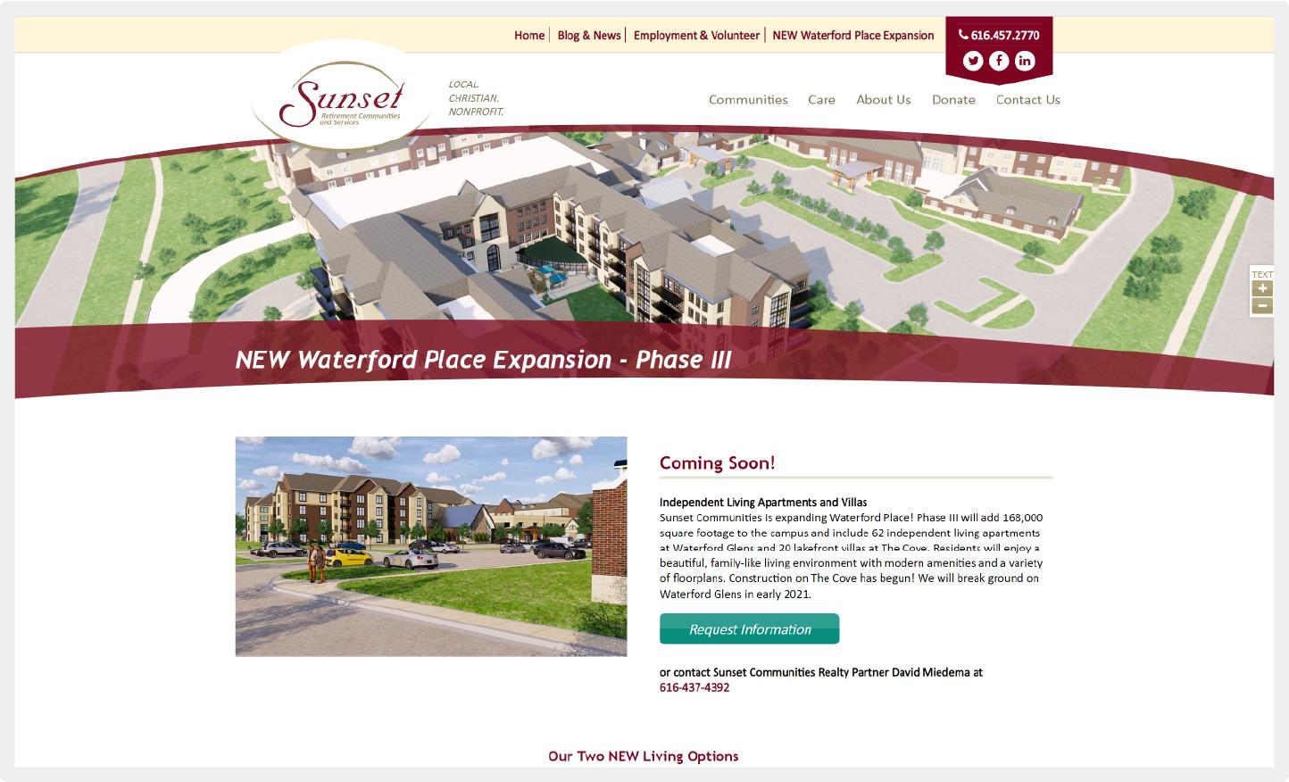 DVS Portfolio - Waterford Place Landing Page