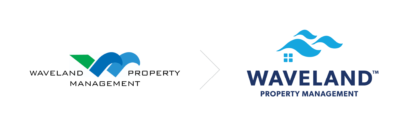 Waveland Property Management logo before and after.