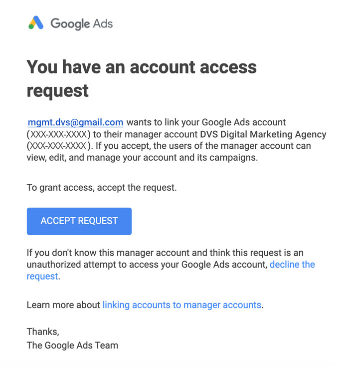 account access request prompt